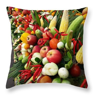 Throw Pillow featuring the photograph Surin Elephant Buffet by Mr Photojimsf