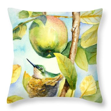Surprise In The Apple Tree Throw Pillow
