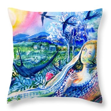 Surprised By A Swallow  Throw Pillow by Trudi Doyle