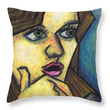 Surprised Girl Throw Pillow by Kamil Swiatek