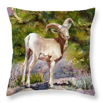 Throw Pillow featuring the painting Surprised On The Trail by Anne Gifford