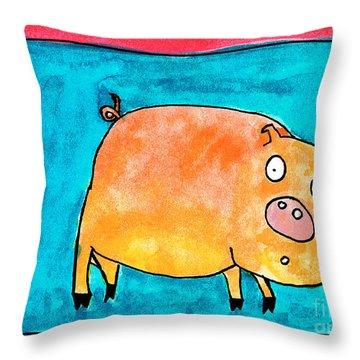 Surprised Pig Throw Pillow