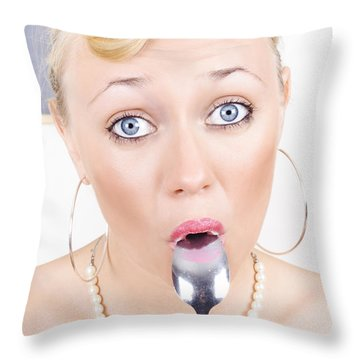 Surprised Pinup Woman Eating Dessert With Spoon Throw Pillow