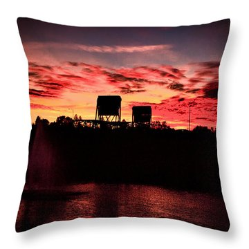 Surreal Bridge And Fountain Throw Pillow