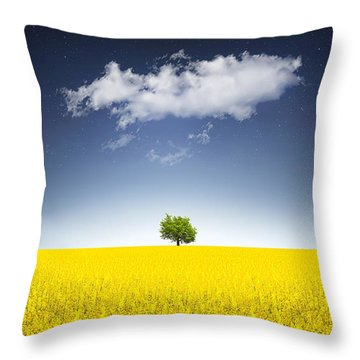 Surreal Canola Field Throw Pillow by Bess Hamiti