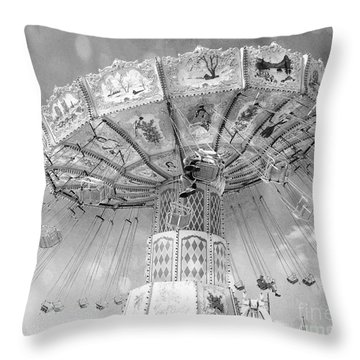 Throw Pillow featuring the photograph Surreal Carnival Rides - Carnival Rides Ferris Wheel Black And White Photography Prints Home Decor by Kathy Fornal