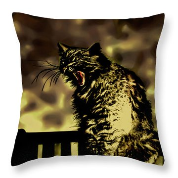 Surreal Cat Yawn Throw Pillow by Gina O'Brien