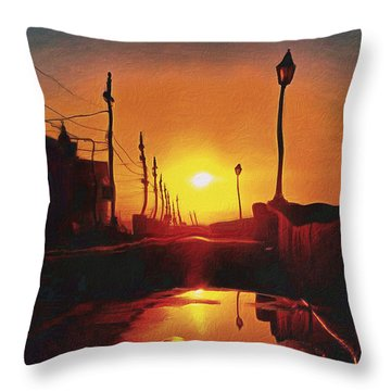 Surreal Cityscape Sunset Throw Pillow