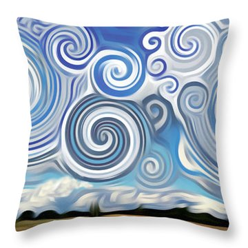 Surreal Cloud Blue Throw Pillow