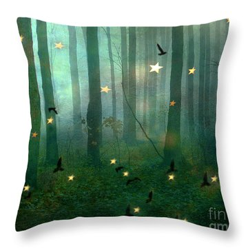 Surreal Dreamy Fantasy Nature Fairy Lights Woodlands Nature - Fairytale Fantasy Forest Woodlands  Throw Pillow by Kathy Fornal