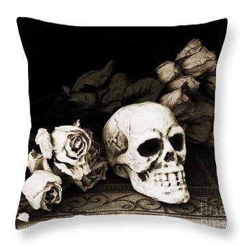 Surreal Gothic Dark Sepia Roses And Skull  Throw Pillow by Kathy Fornal