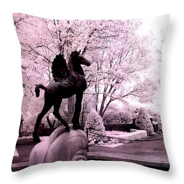 Surreal Infared Pink Black Sculpture Horse Pegasus Winged Horse Architectural Garden Throw Pillow by Kathy Fornal