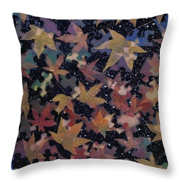 surreal landscape with autumn leaves - Autumn Sky Throw Pillow