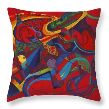 Throw Pillow featuring the painting Surreal Medieval Weaponry by Shawna Rowe