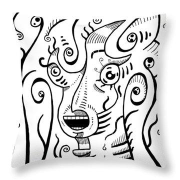 Surrealism Scream Black And White Throw Pillow