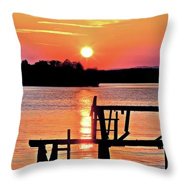 Surreal Smith Mountain Lake Dock Sunset Throw Pillow