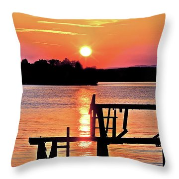 Surreal Smith Mountain Lake Dock Sunset Throw Pillow by The American Shutterbug Society