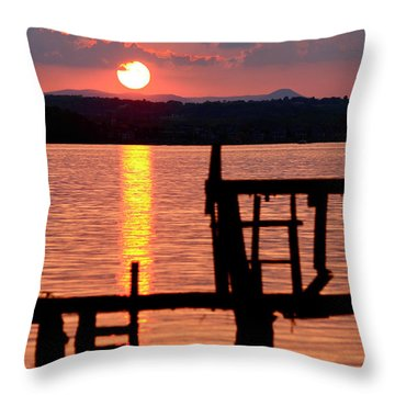 Surreal Smith Mountain Lake Dockside Sunset 2 Throw Pillow by The American Shutterbug Society