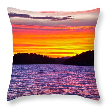 Surreal Smith Mountain Lake Sunset 2 Throw Pillow