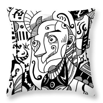 Surrealism Philosopher Black And White Throw Pillow