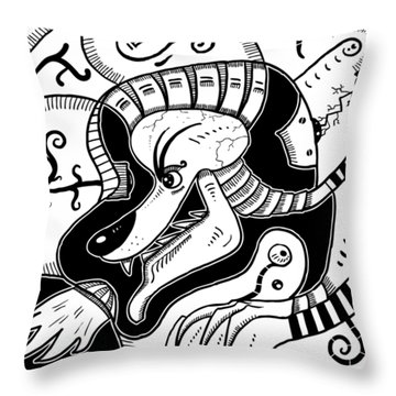Surrealism Wolf Black And White Throw Pillow