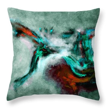 Throw Pillow featuring the painting Surrealist And Abstract Painting In Orange And Turquoise Color by Ayse Deniz
