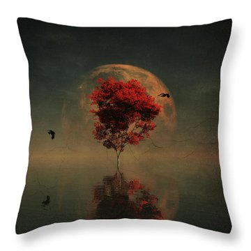 Surrealistic Landscape With Red Mapple And Full Moon Throw Pillow