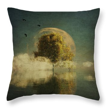 Surrealistic Landscape With Yellow Birch And Full Moon Throw Pillow