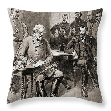 Surrender Of Robert E Lee To General Ulysses S Grant, Appomattox Court House,virginia Throw Pillow
