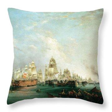 Surrender Of The Santissima Trinidad To Neptune The Battle Of Trafalgar Throw Pillow