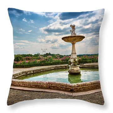 The Monkeys Fountain At The Gardens Of The Knight In Florence, Italy Throw Pillow