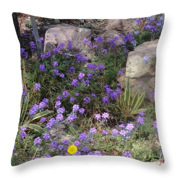 Surrounded By Purple Flowers Throw Pillow