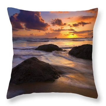 Surrounded By The Sea Throw Pillow by Mike  Dawson