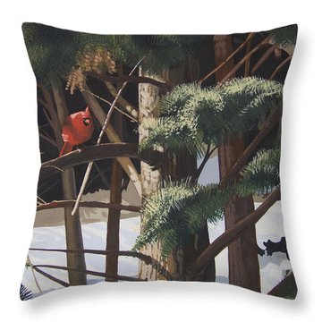 Surveying The Snow Throw Pillow by Peter Muzyka