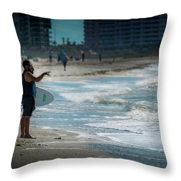 Surveying The Waves Throw Pillow