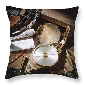 Surveyors Transit And Chain Throw Pillow