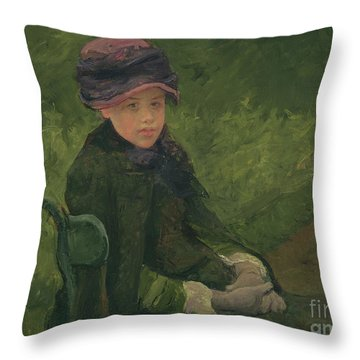 Susan Seated Outdoors Wearing A Purple Hat Throw Pillow