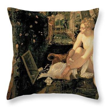 Susanna Bathing Throw Pillow by Jacopo Robusti Tintoretto