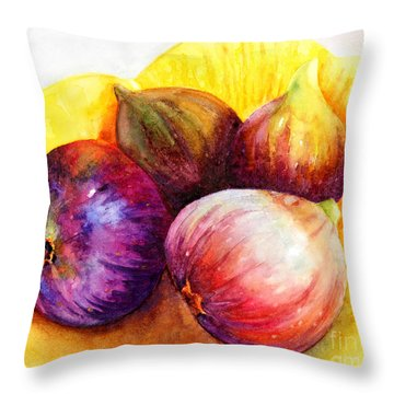 Throw Pillow featuring the painting Susan's Figs by Bonnie Rinier
