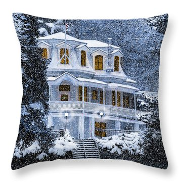 Susanville Elks Lodge At Christmas Throw Pillow