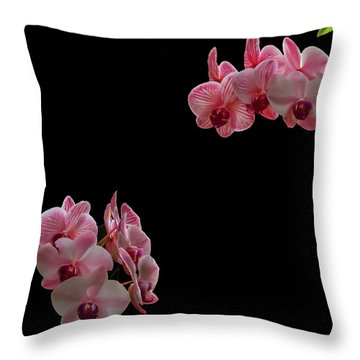 Suspended Orchids Throw Pillow