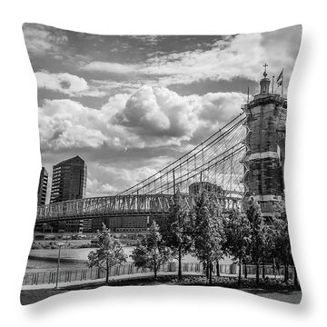 Suspension Bridge Black And White Throw Pillow by Scott Meyer