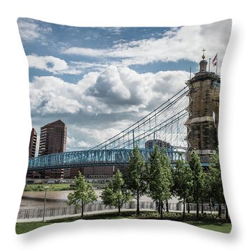 Suspension Bridge Color Throw Pillow by Scott Meyer