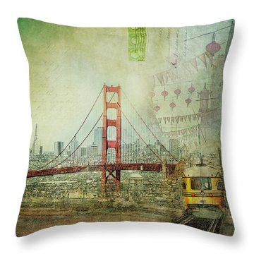 Throw Pillow featuring the photograph Suspension - Golden Gate Bridge San Francisco Photography Mixed Media Collage by Melanie Alexandra Price