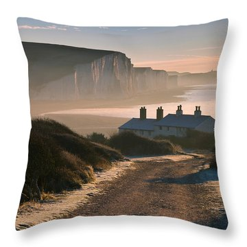 Sussex Coast Guard Cottages Throw Pillow