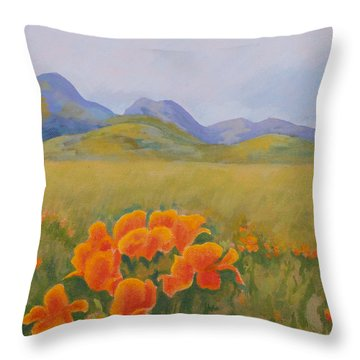 Sutter Buttes With California Poppies Throw Pillow