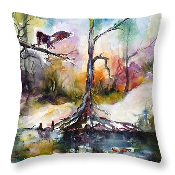 Throw Pillow featuring the painting Suwanee River Black Water Eagle Landing by Ginette Callaway