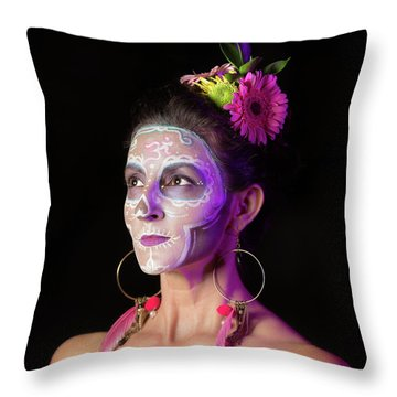 Suz's Sugar Skull Four Throw Pillow