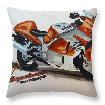 Throw Pillow featuring the painting Suzuki Hayabusa by Richard Le Page