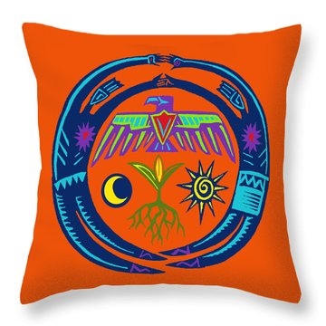 Throw Pillow featuring the digital art Sw Shaman Eagle Rain Dance by Vagabond Folk Art - Virginia Vivier
